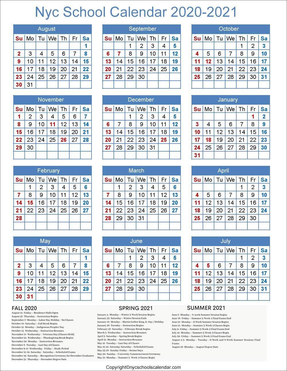 NYC DOE Calendar 2020
