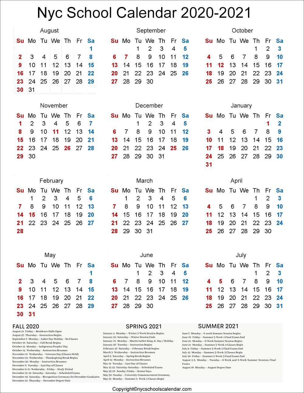 NYC School Holidays 2020 Calendar