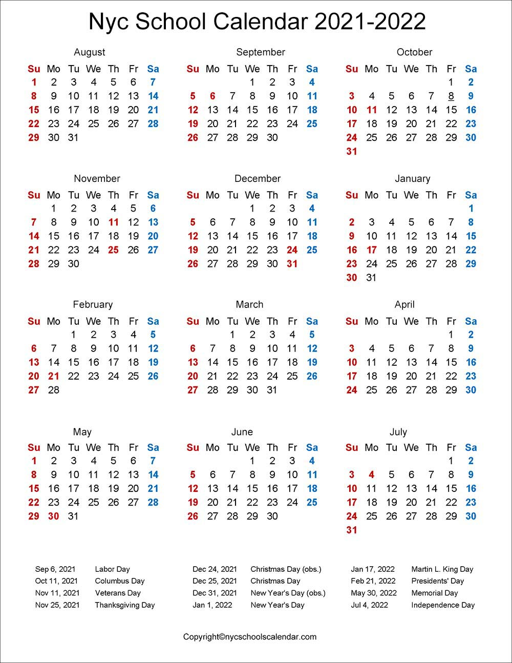 ❤️NYC School Holidays Calendar 2021 2022 ✓