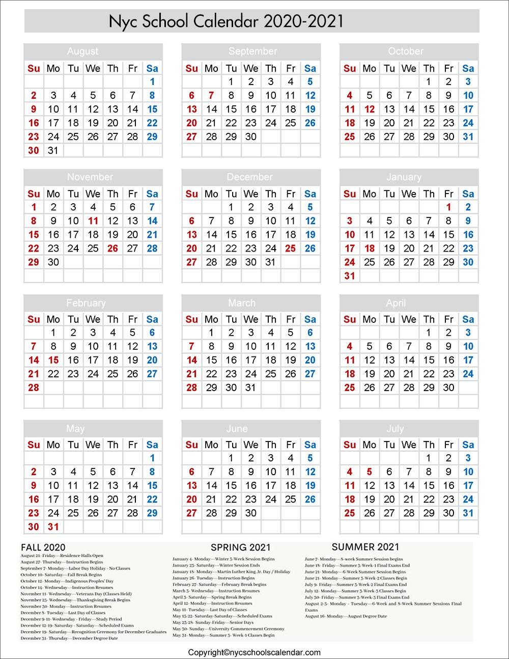 NYC School Holiday 2020