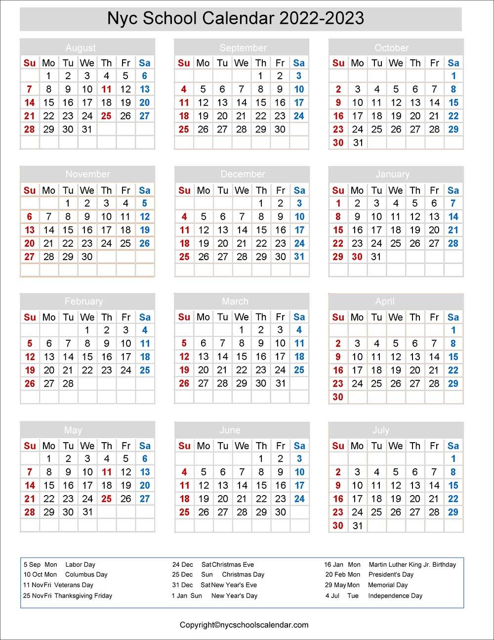 Nycdoe Calendar 2022.Nyc School Holidays Calendar 2022 2023