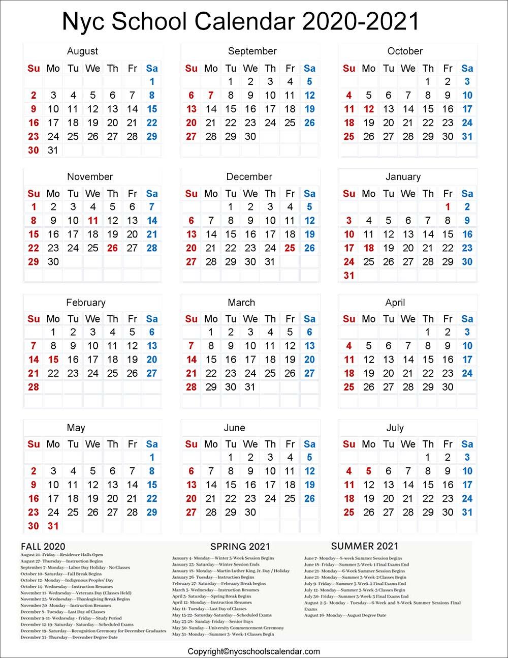 NYC School Term Dates 2020