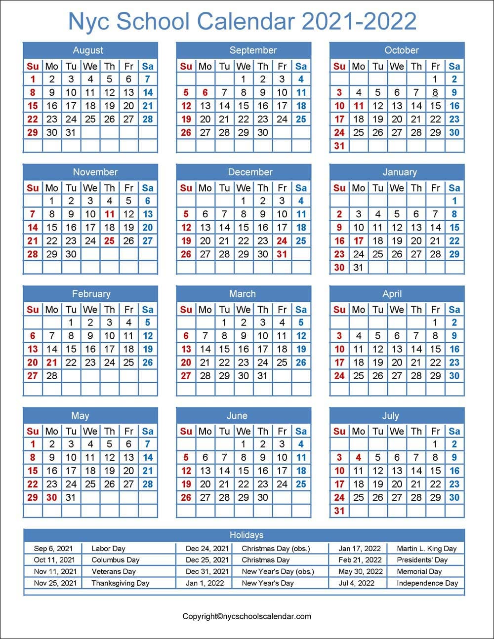 New York School Calendar 2021